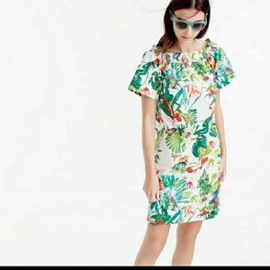 J. Crew Tropical Floral Dress Cotton Birds 10